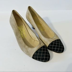 Salvatore Ferragamo Seude Pumps with Quilted Toe